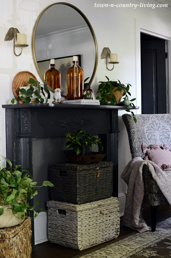 Transitional Mantel - decorating from summer into the fall season