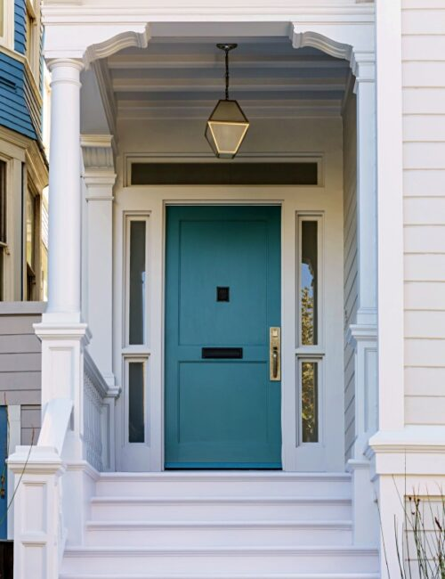 Light Blue Front Door on a Classic Home Porch