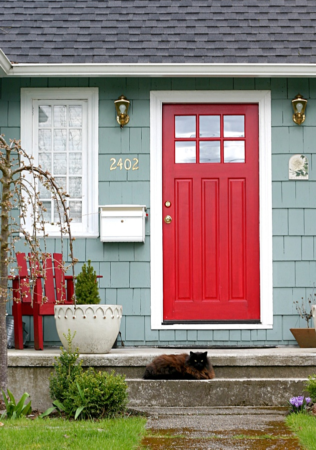 Cozy Blue Cottage with Red Front Door