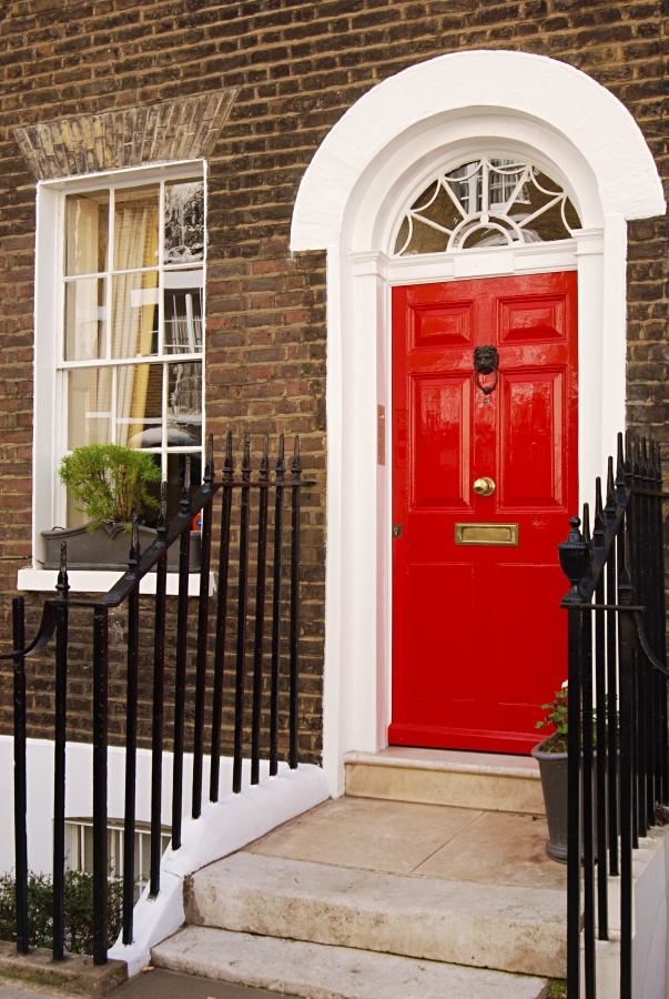 Classic Red Front Door on a Brick House