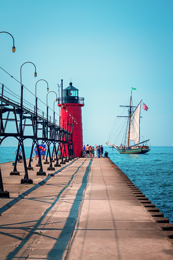 Sailing Ship at South Haven Lighthouse