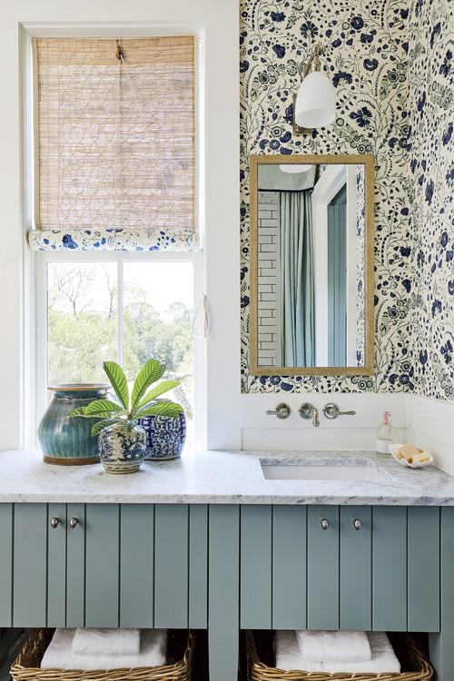 Light Blue Bath with Floral Wallpaper
