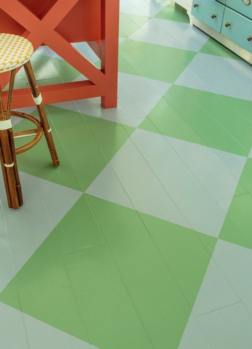 Painted Kitchen Floor in a Light Green and White Diamond Pattern