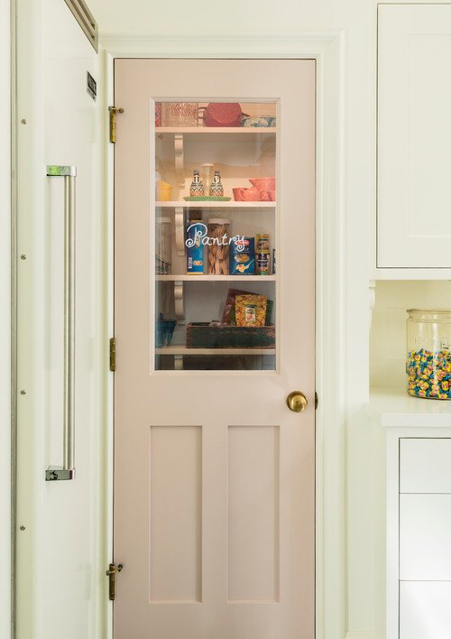Pink Pantry Door in Whimsical Kitchen