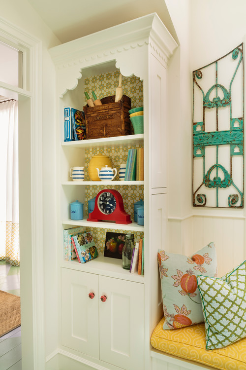 Cottage Style Colorful Kitchen - Book Shelf with Flea Market Finds