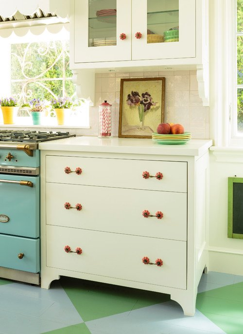 Salmon Colored Door Knobs and Drawer Pulls in Cottage Kitchen