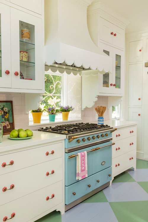 Powder Blue Oven Range in a Colorful Kitchen