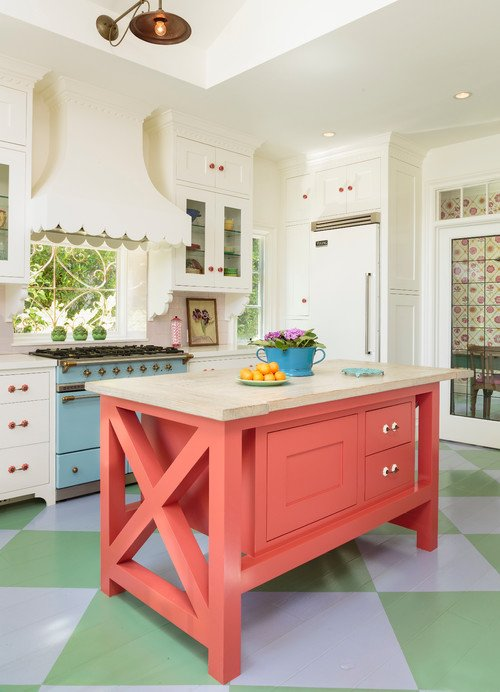 Fun and Colorful Kitchen with Painted Diamond Floors