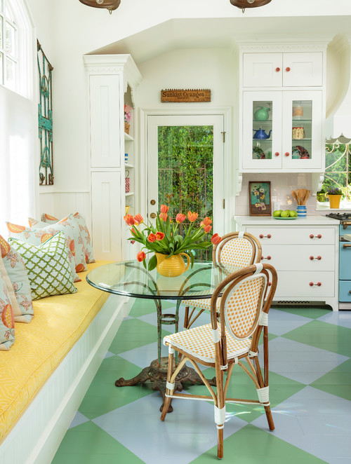 Cottage Style Breakfast Nook with Bistro Table and Banquette Seating