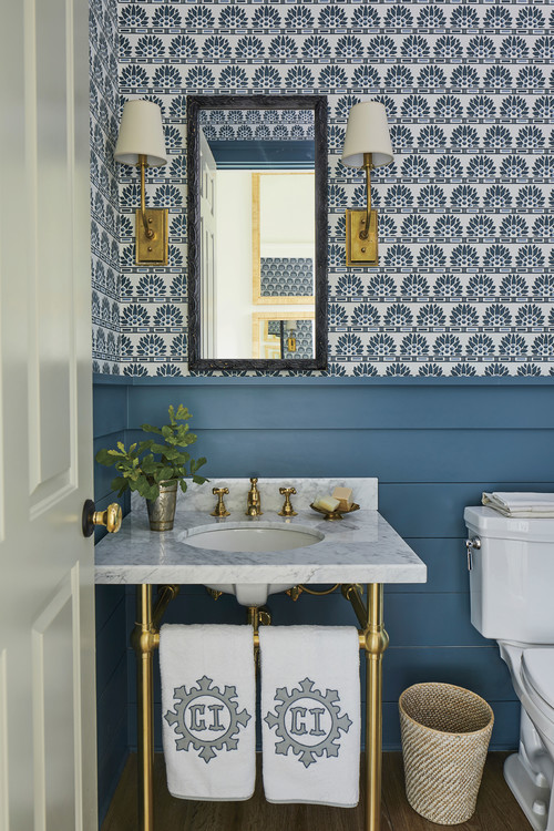 Powder Room or Bathroom with Blue Wainscoting and Wallpaper
