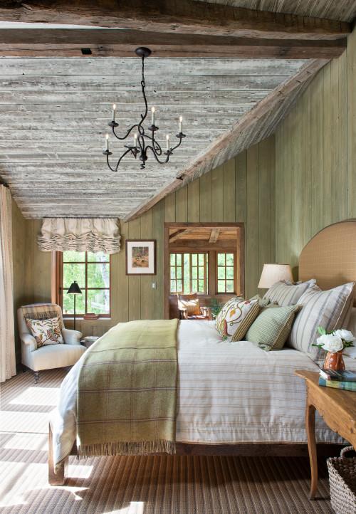 Cabin Bedroom with Chandelier