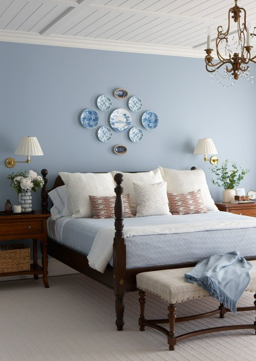 Light Blue Master Bedroom with Classic 4-Poster Bed