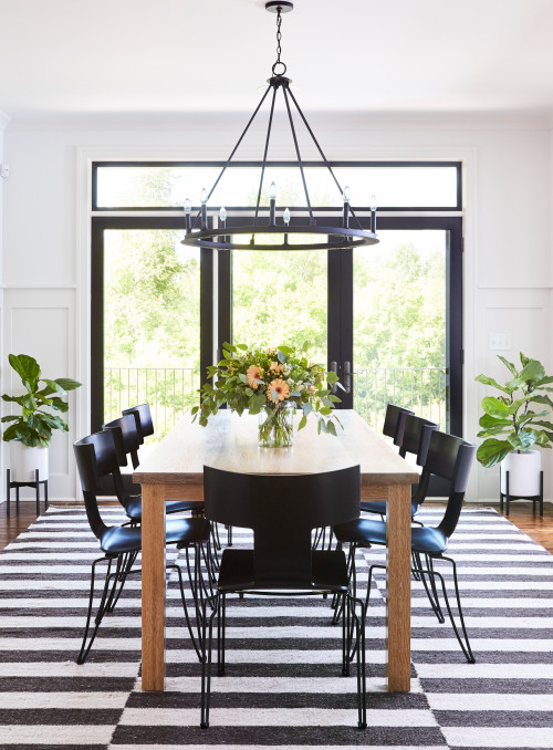 Black and White Dining Room in New Construction Farmhouse