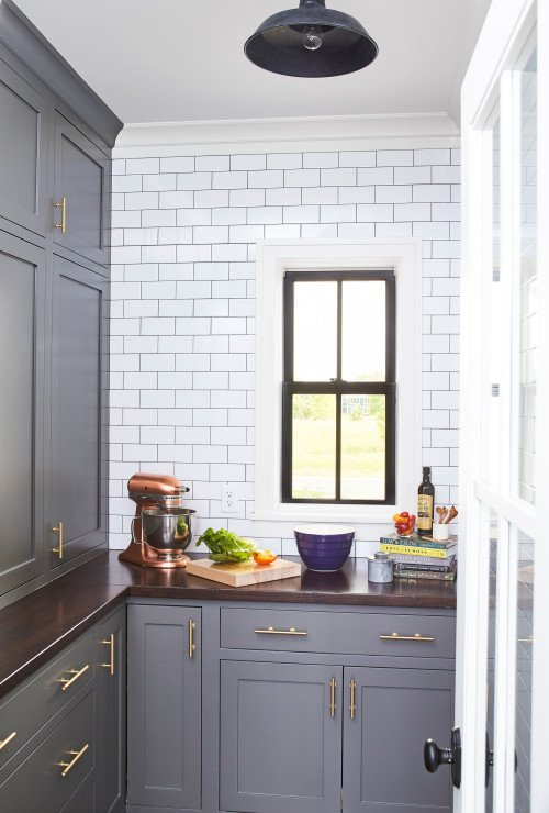 Gray and White Butler's Pantry