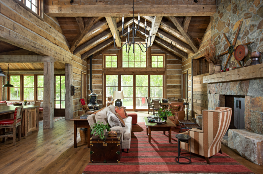 Cabin Living Room with Vaulted Ceiling and Large Window