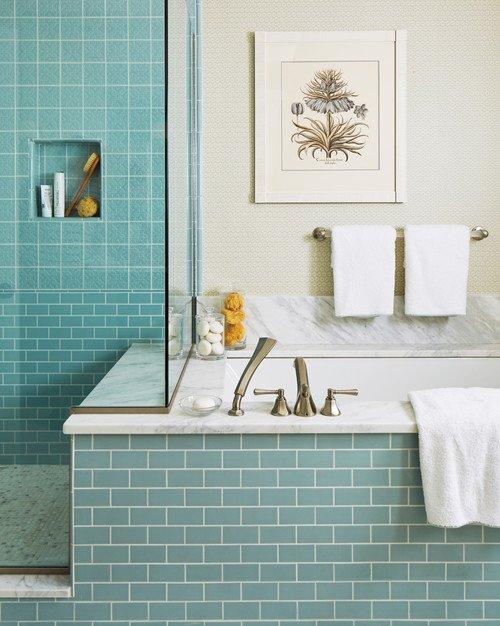 Light Blue Tile in Contemporary Bathroom