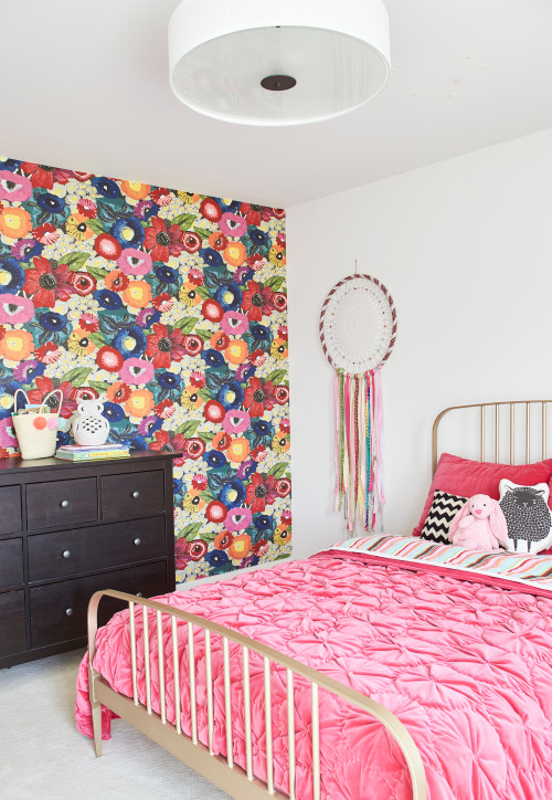 Colorful Pink Farmhouse Bedroom