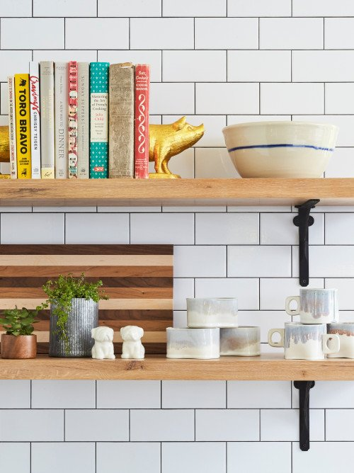 Open Kitchen Shelves with Farmhouse Styling