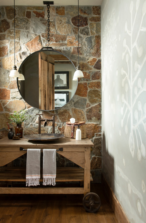 Rustic Powder Room with Stone Room