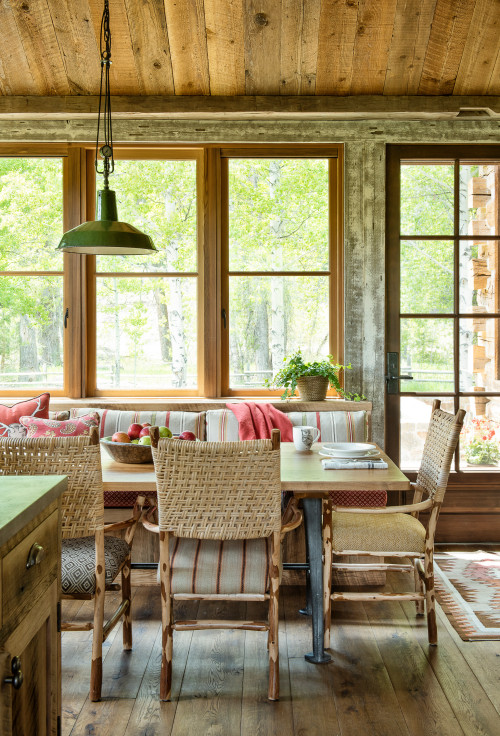 Cabin Dining Room with Wall of Windows