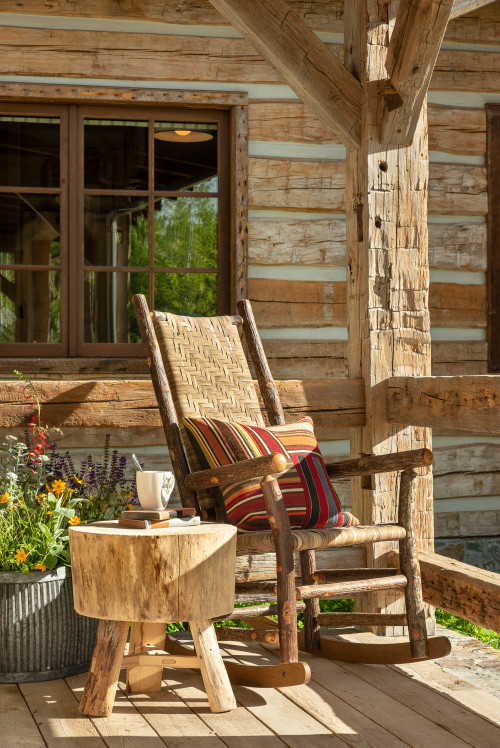 Rustic Cabin Porch with Rocking Chair