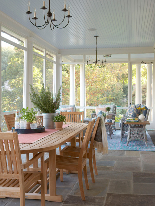 Classic Screened in Porch at Traditional Home in New York