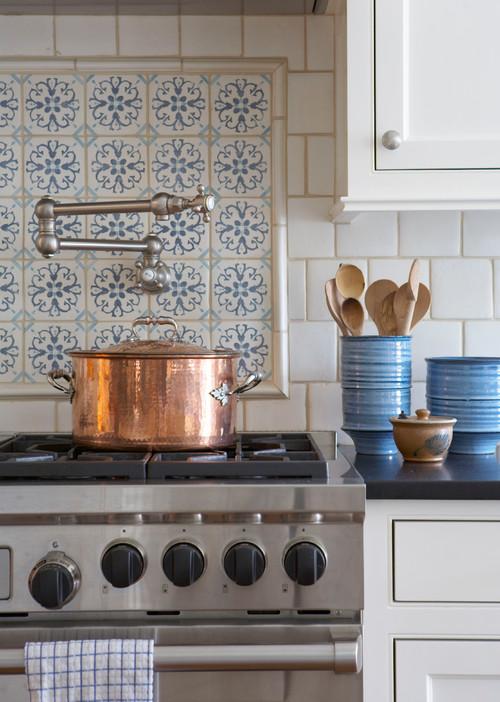 Custom Tile Back Splash in Traditional White Kitchen
