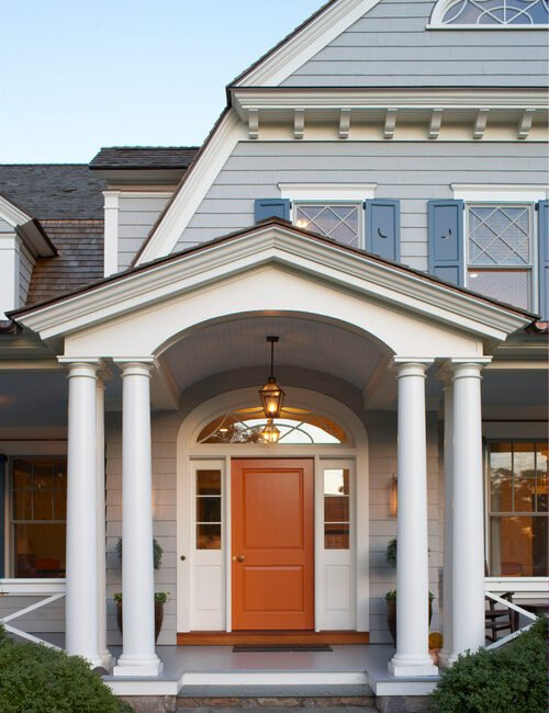 Exterior of Custom Built Traditional Home with Architectural Details