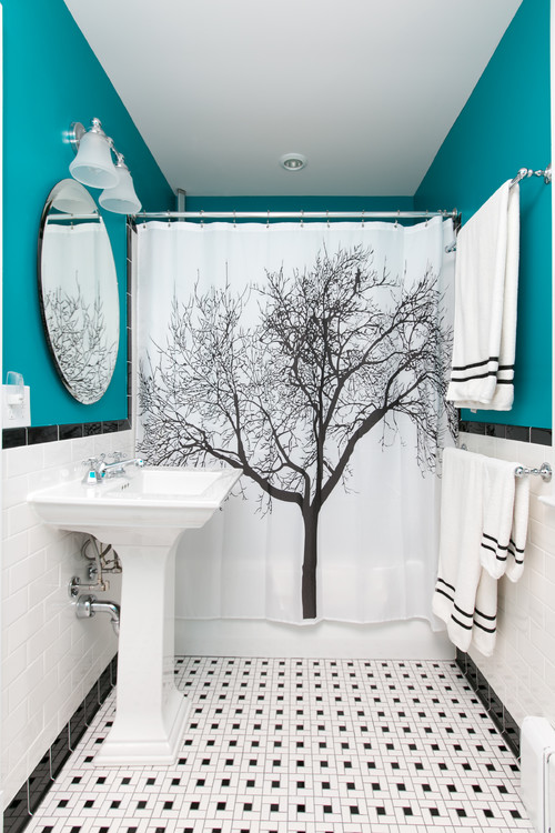 Bold Teal Bathroom with Graphic Tree Shower Curtain