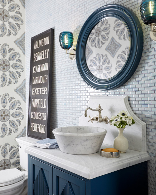 Eclectic Bathroom in Dark Blue with Patterned Wallpaper