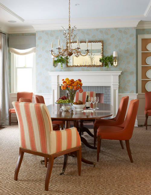 Peach and Blue Traditional Dining Room with Wallpaper and Fireplace