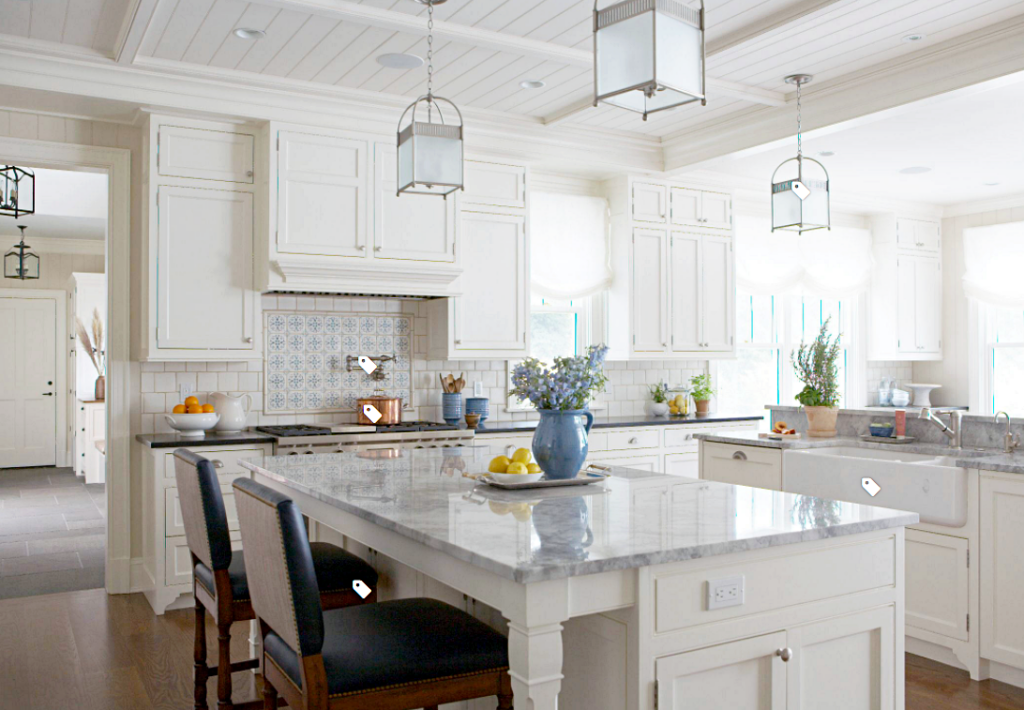 Traditional White Kitchen with Custom Cabinets and Large Island