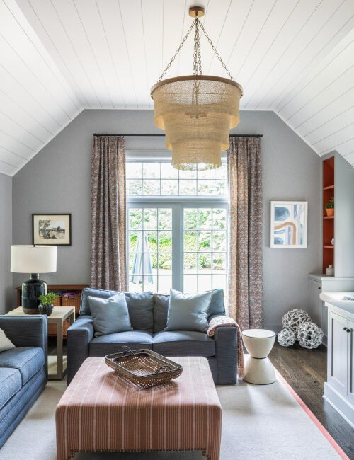 Tudor Style Home with Small Living Room and Vaulted Ceiling