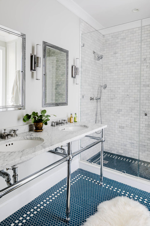 Transitional Bath with Blue Penny Floor Tile