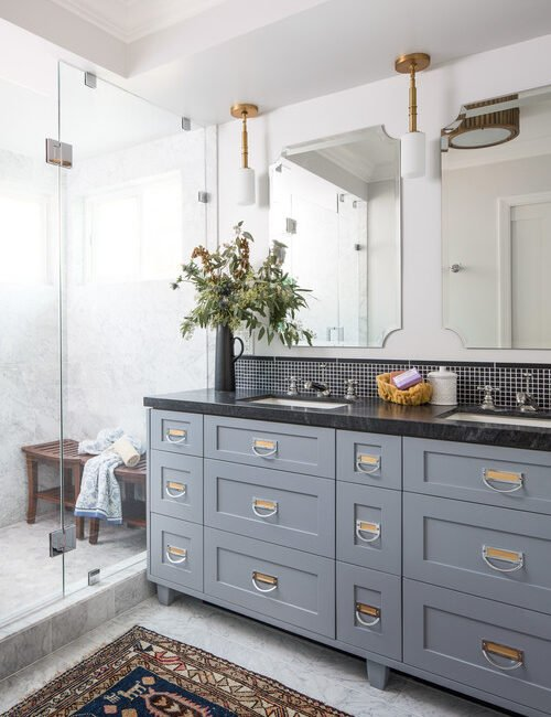 Blue Bathroom Vanity with Black Counter Top