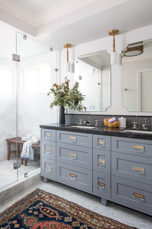 Blue Bathroom Vanity with Black Counter Top