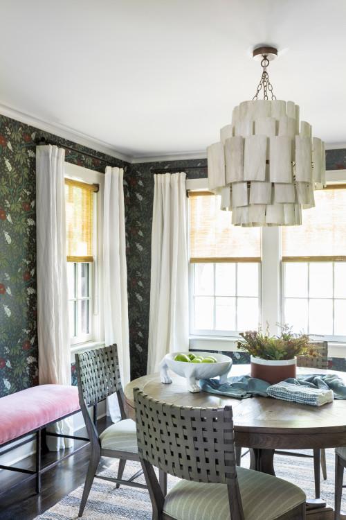 Dark Wallpapered Transitional Dining Room
