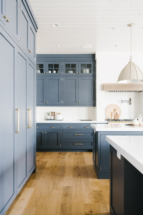 Blue-Gray Kitchen Cabinets and Wood Floor