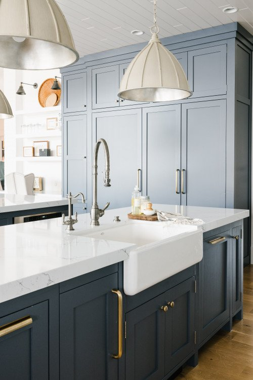 Blue Gray Kitchen Cabinets Transitional Kitchen with Blue Gray Cabinets   Town & Country Living