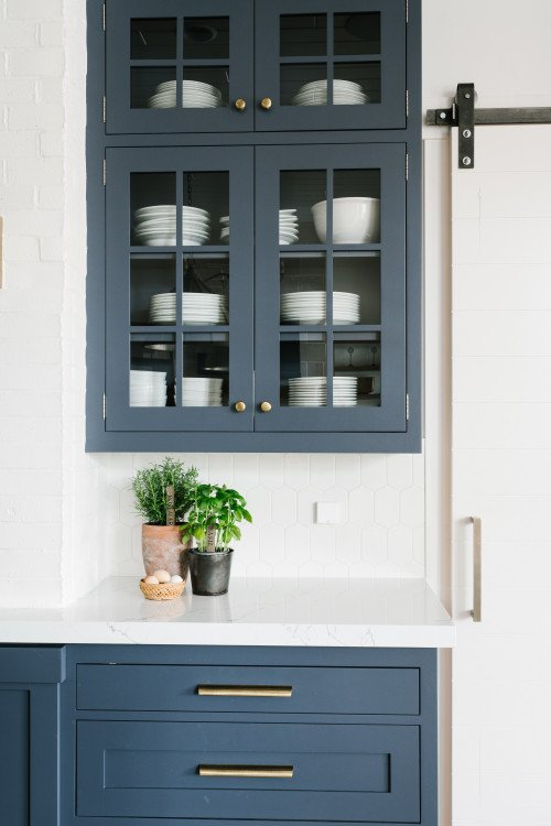 Gorgeous Custom Cabinetry in a Soft Blue-Gray Color