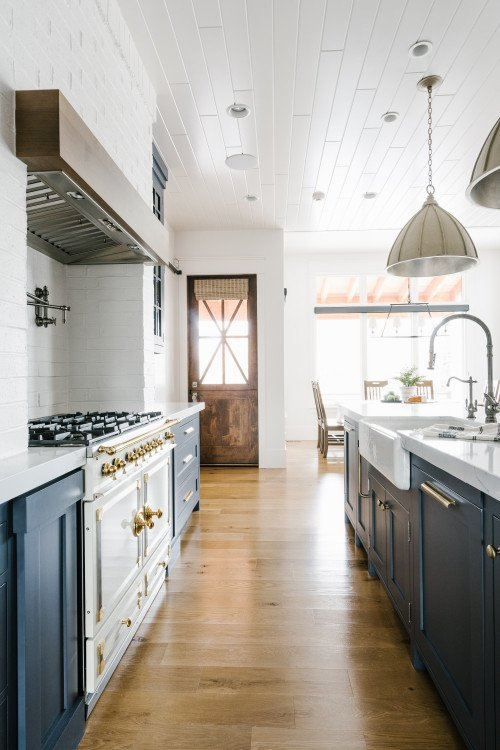 Transitional Kitchen in Blue-Gray and White
