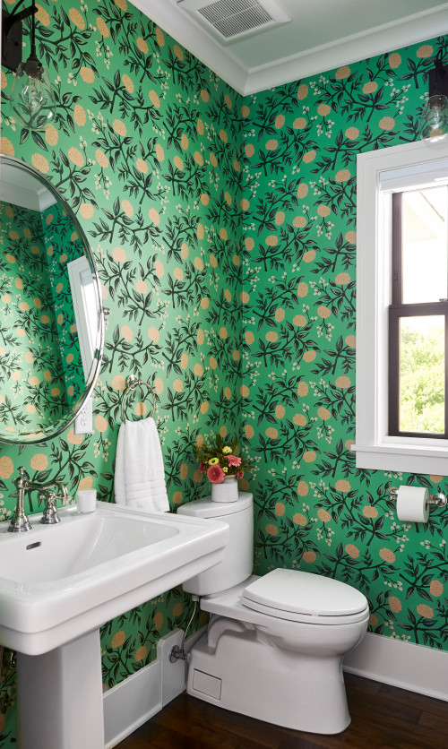 Colorful Green Wallpapered Powder Room