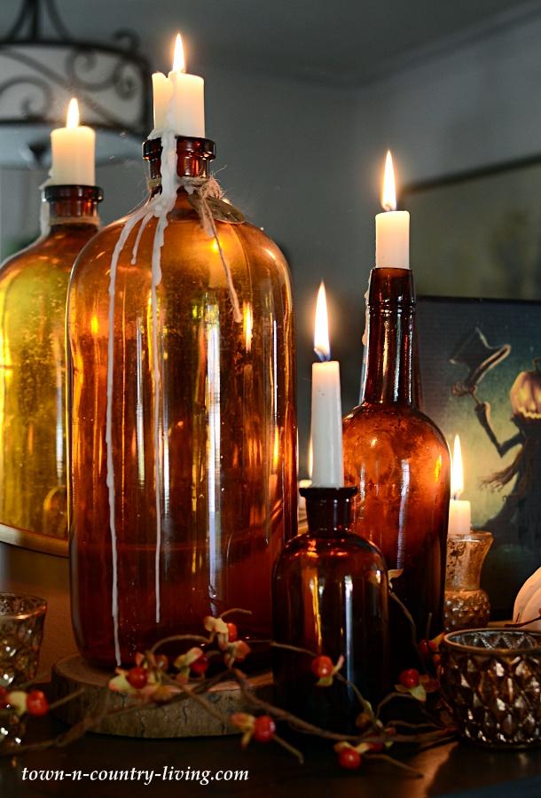 Vintage Amber Bottle Candles