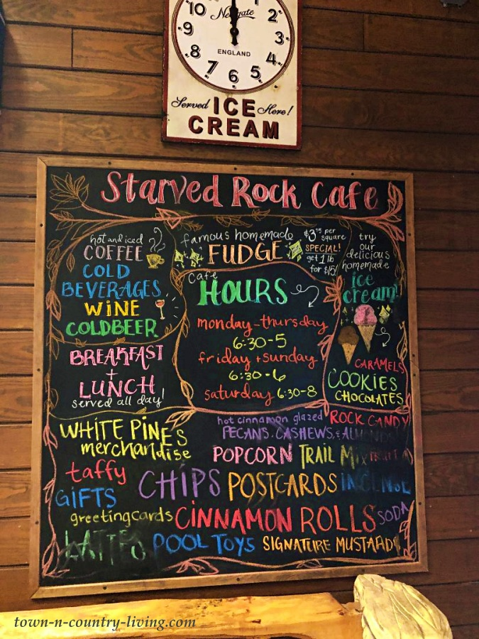 Chalkboard Menu at Cabin Style Lodge
