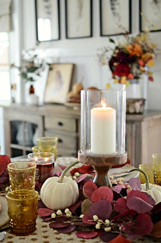 Country Style Fall Tablescape with Hurricane Candle Centerpiece