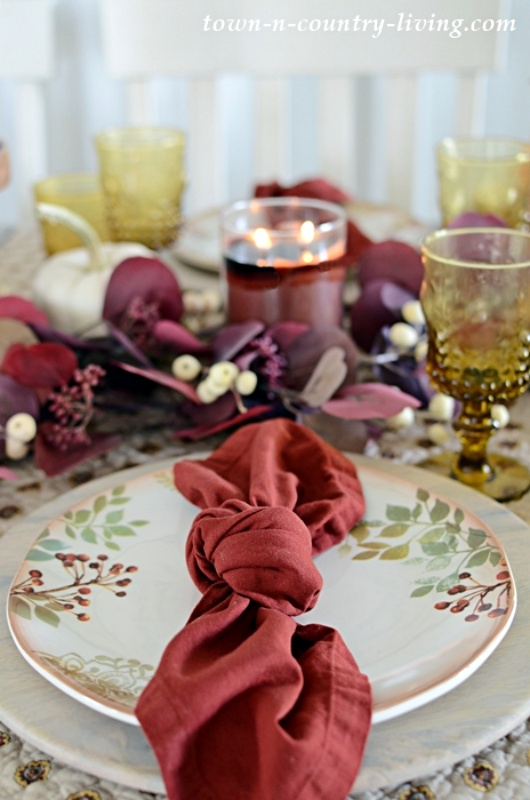 Country Style Place Setting on an Autumn Table