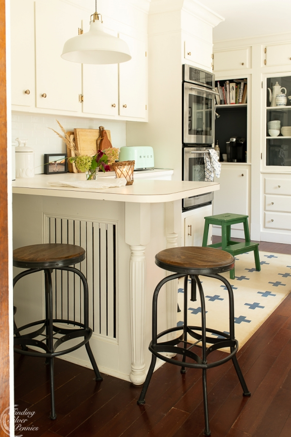 Farmhouse Bar Stools at Coastal Kitchen Peninsula