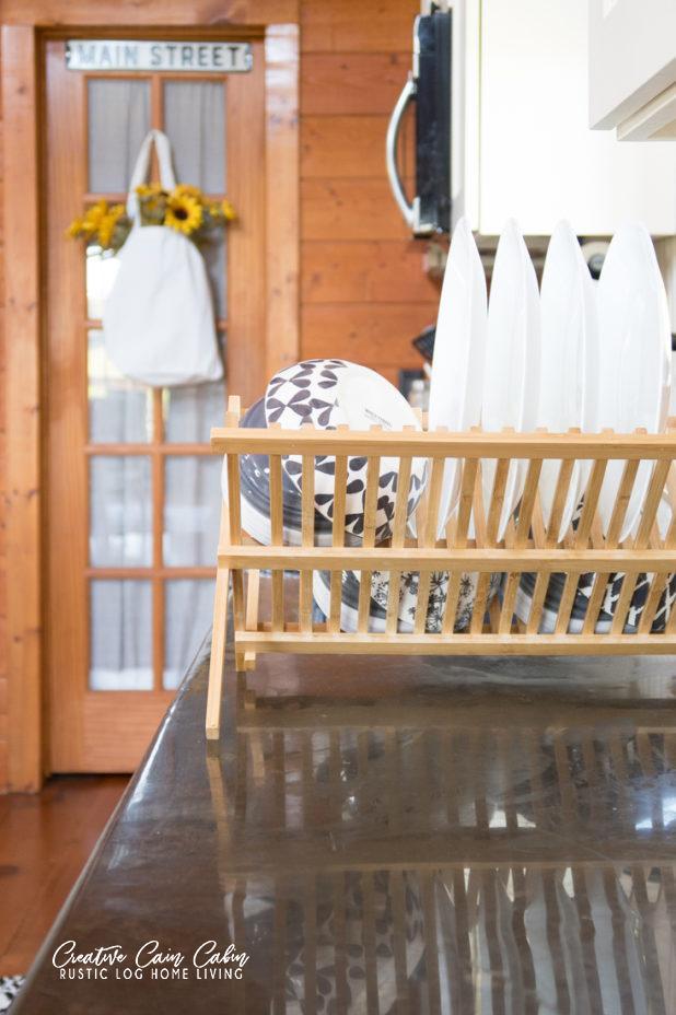Dish Drying Rack in Farmhouse Cabin Kitchen