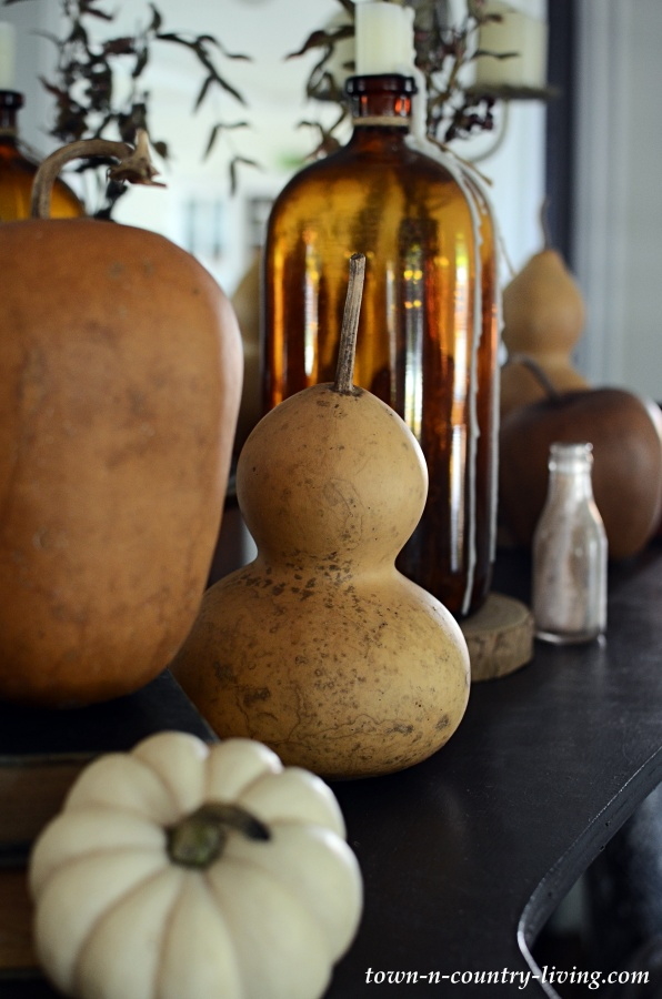 Dried Gourds on Modern Country Mantel