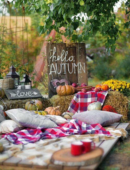 Fall outdoor picnic with plaid blanket, pillows, hay bales, and pumpkins